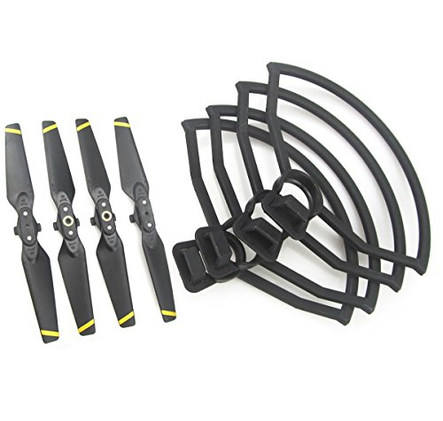 Rantow 4 Pieces Quick Release Protective Propeller Guard + 4 Pieces Foldable CW CCW Propellers for DJI Spark Drone (Yellow Stripe Propeller + Propeller Guard)