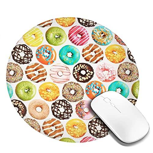 Mauspad Bunte Donuts Rutschfeste Gummibasis Wasserdichte Runde Mausmatte für Office Home Gaming Mousepad 4 Stück