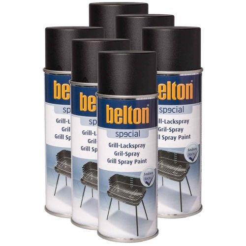 6 x Belton Grill Lackspray schwarz 0,4l