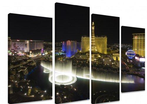 Mehrteiliges Wandbild auf Leinwand, Motiv Las Vegas und Bellagio Brunnen Eiffelturm bei Nacht Himmel Amerika ART Depot OUTLET Kunstdruck, 4-teilig, 101 x 71 cm (101.60 cm x 71.12 cm)