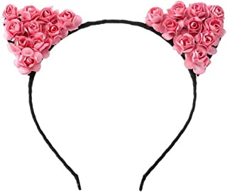 Perfect Party Decoration Holiday Accessories Cute Paper Rose Flower Cat Ears Party Headband Headdress Hair Accessories(Peach Red)
