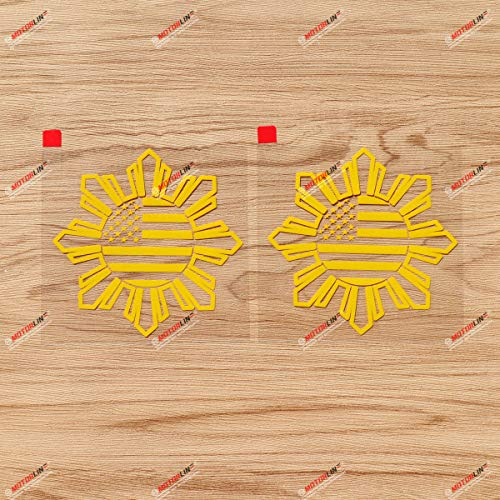 Philippines American USA Flag Sun Star Filipino Decal Sticker Vinyl - 2 Pack Yellow, 4 Inches - No Background for Car Boat Laptop