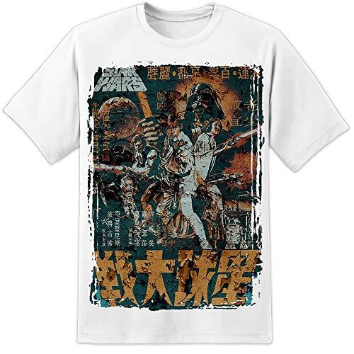 para Hombre Star Wars un Nuevo Hope Raro Angustiado Blanco Cartel de Película Camiseta Episodio 7 8 VIII Han Solo BLU Ray - Blanco, XL