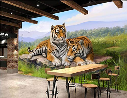 RTYUIHN 3D Wallpaper Living Room Living Room Wall Tiger Tiger Modern Wall Art Decoration