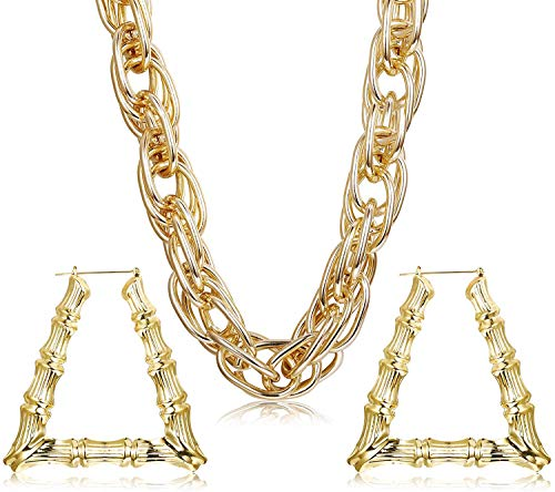 LOLIAS 3PCS Chunky Rope Chain Necklace and Large Triangle Bamboo Hoop Earrings for Men Women Hollow Casting Costume Jewelry Punk Hip Hop Rapper Style