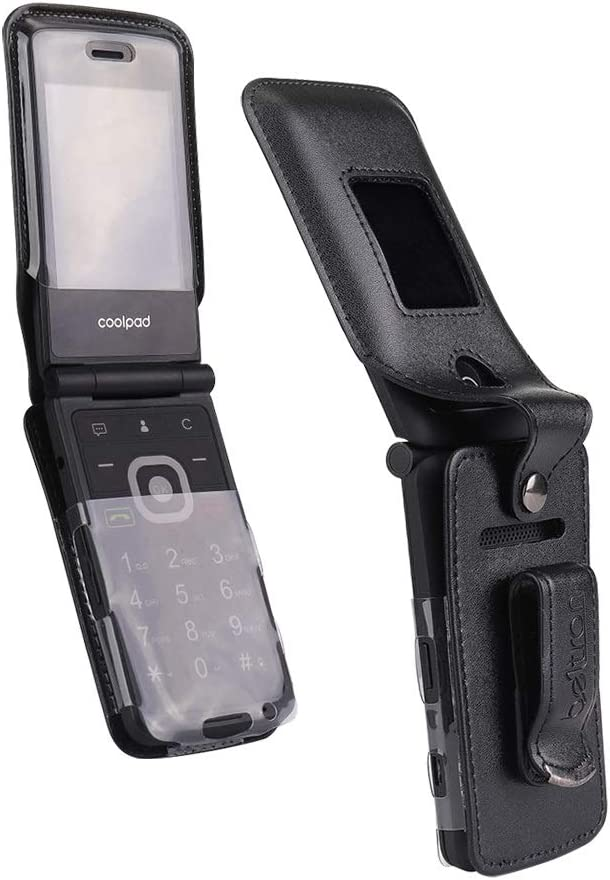 BELTRON Fitted Leather Case for Coolpad Snap 3312A Flip Phone (Boost Mobile, Sprint, T-Mobile, Virgin Mobile) Features: Rotating Belt Clip, Screen & Keypad Protection & Secure Fit