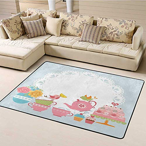 Indoor Modern Area Rugs Tea Party Modern Indoor Rugs Two Birds Enjoying Tea and Various Sweets Pale Colored Image Bouquet of Flowers Rugs Mat for Living Room Bedroom Multicolor (5'x7')
