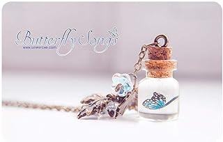 collana a forma di farfalla, collana di bottiglia con farfalla, gioielli botanici, collana di fiala di vetro, pendente car...