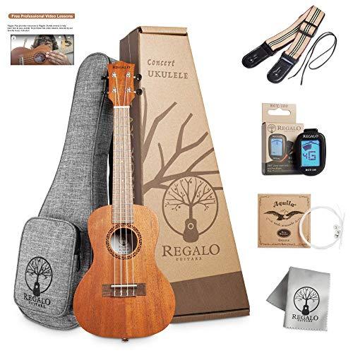 Concert Ukulele Regalo Guitars 23 Inch Beginner Ukelele Kit For Beginners Kids Adults Professional Mahogany Ukalalee Starter Kit (10 Free Online Lessons Thick Gigbag 4 Aquila String Tuner Strap&Cloth)