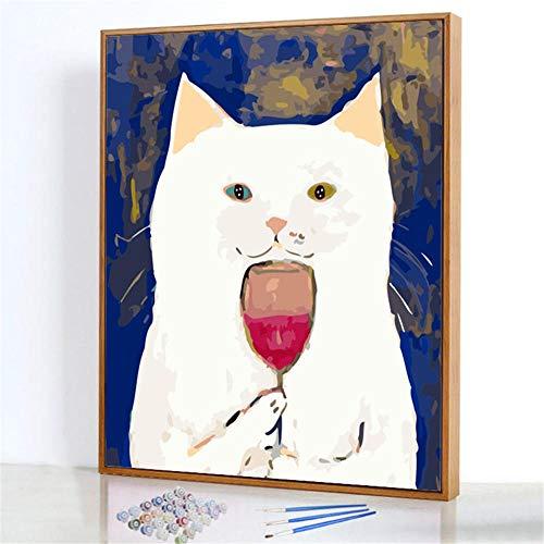 Diy Digitale Olieverfschilderij,Drink rode wijn witte kat Schilderen Door Cijfers,Linnen Canvas ,Foto Voor Binnendecoratie - 40x50cm(Frameloos)