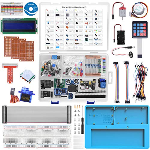 Ultimate Starter Kit para Raspberry Pi RAB Holder, Servo, Jumper Wire, Resistencia Motor paso a paso 224 artículos para Raspberry Pi 4 B 3 B + A + 2 1 Zero W Electrónica de aprendizaje LK87