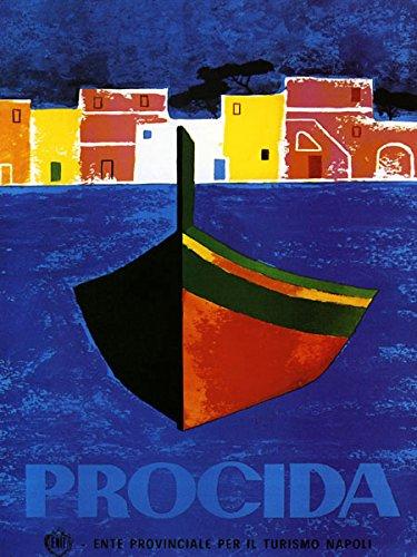 "Procida Coast of Naples in Southern Italy Boat Napoli Turism Italiana Italian 20"" X 30"" Image Size Poster Reproduction"