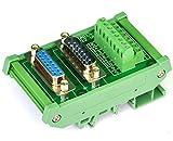 Electronics-Salon DB15 D-SUB DIN Rail Mount Interface Module, DSUB Male/Female, Breakout Board.