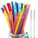 32 Pieces Reusable Plastic Straws Fit for Mason Jars, Tumblers, 10.25 Inches Extra Long Rainbow Colored Unbreakable Drinking Straws with 2 Cleaning Brushes, BPA Free and Eco Friendly