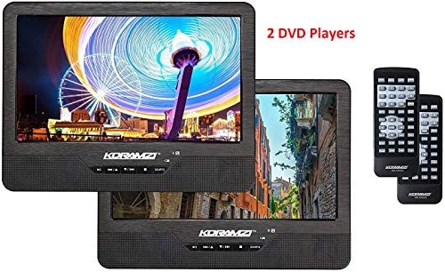 Koramzi Portable 9' Dual Screen Dual DVD Player W Rechargeable Battery/ AC Adapter/ AV in/ USB...