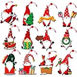 12 Pieces Gnome Ornaments Wooden Christmas Ornaments Hanging Decorations for Christams Tree Wood Slices Set with Ropes for DIY Crafts Christmas Hanging Ornaments Holiday Decorations