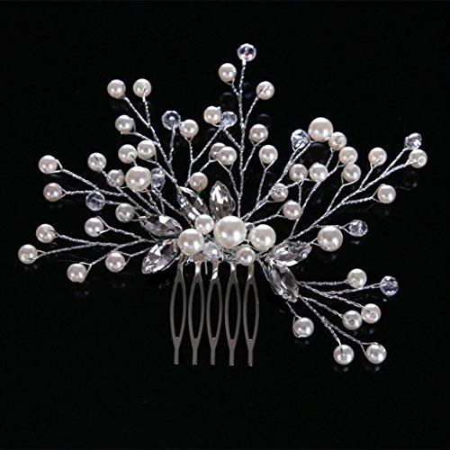 niumanery Bride Hair Comb Wedding Women Jewelry Headpieces Pearl Bead Handmade Accessories Silver