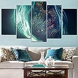 5 Panel/Set Lienzos Handart Cuadro En Lienzo Cinco Partes HD Clásico Óleo Impresiones Decorativas Cartel Arte Pared Pinturas Hogar Lienzo Mujer, Cara, Carta, Pintura