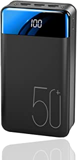 Power Bank Fast Laddning 50000mAh Portable Laddare, hög kapacitet 3 Utgångar Telefon batteri med ficklampa och LED visning...
