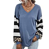 Camiseta con Cuello En V De Manga Larga con Costura A Rayas De OtoñO E Invierno para Mujer