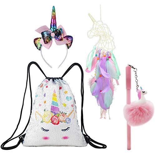 Unicorn Gift Set Girls Drawstring Sequin Backpack/Necklace/Headband/Keychain/Hair Bow (White Unicorn w/Purple Dream Catcher)