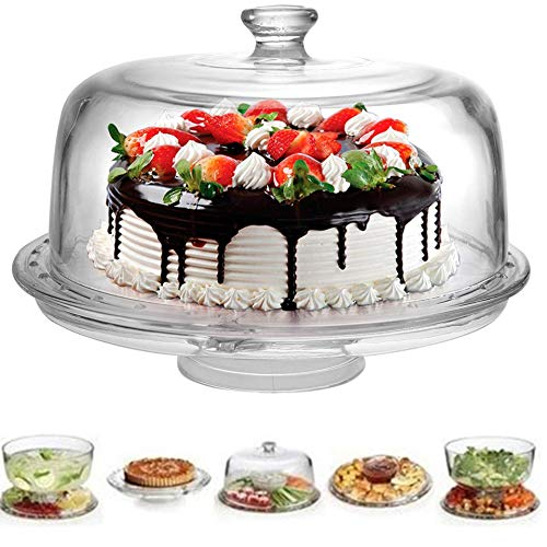 """Extra Large (12"""") 6 in 1 Cake Stand with Dome Lid Multifunctional Serving Platter and Cake Plate, Salad Bowl/Veggie Platter/Punch Bowl/Desert Platter/Chips & Dip - BPA Free"""