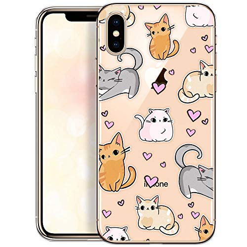 OOH!COLOR Handyhülle kompatibel mit iPhone X iPhone XS Hülle Transparent ultradünn Slim Bumper Silikon Schutzhülle durchsichtig Case mit Motiv Gattino (MONOUSO)