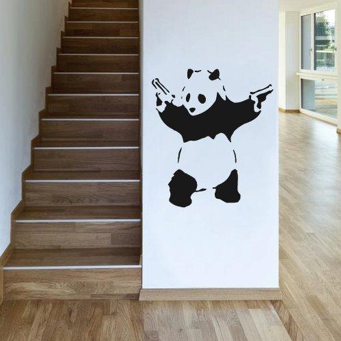 Customwallsdesign Wandaufkleber, Motiv Banksy Panda mit Waffen