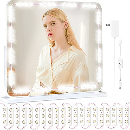 Led Vanity Lights for Mirror, Colorsmoon 10ft Hollywood Style Makeup Mirror Lights, 10 Levels Brightness Dresser Lighting Strip Kit with Dimmer for Vanity Table, Bathroom (Mirror Not Included)