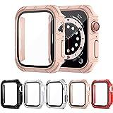 VCVS [5 Stücke] Glas Hülle Kompatibel mit Apple Watch Series 6/5/4/SE 40mm Schutzhülle, Vollständige Abdeckung PC Schutzfolie mit Bildschirmschutzfolie aus Gehärtetem Glas Kompatibel mit iWatch