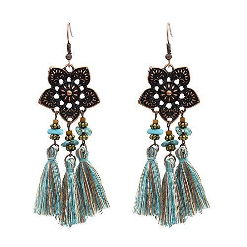 Nuevos pendientes de palacio retro europeos y americanos patrón étnico flor turquesa borla pendientes-A
