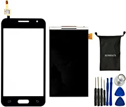 Sunways Glass Lens Screen with Touch Digitizer Replacement (Black) + LCD Display Digitizer Screen Replacement for Samsung Galaxy Core 2 g355 G355h with Device Opening Tools