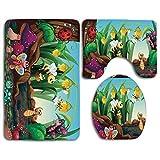 Alfombras de baño Set Animal Ladybug Butterfly Bee Jardín exótico Botánica Cute Kids Nursery Arte de dibujos animados Lavable Alfombra de baño + Alfombrilla de contorno + Cubierta de asiento de inodor