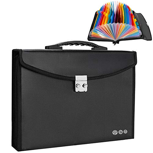 Fireproof Document Bag Accordion File Folder Document Organizer Waterproof 24 Pockets Expanding Fire Resistant Safe Bag File Holder with Combination Lock & Handle 14 x 2 x 10.2in (Black)