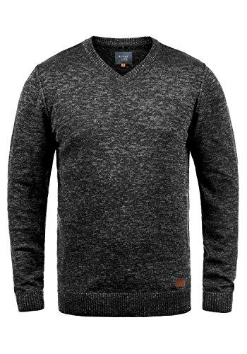 Blend Dansel Herren Strickpullover Feinstrick Pullover Mit V-Ausschnitt Und Melierung, Größe:M, Farbe:Black (70155)