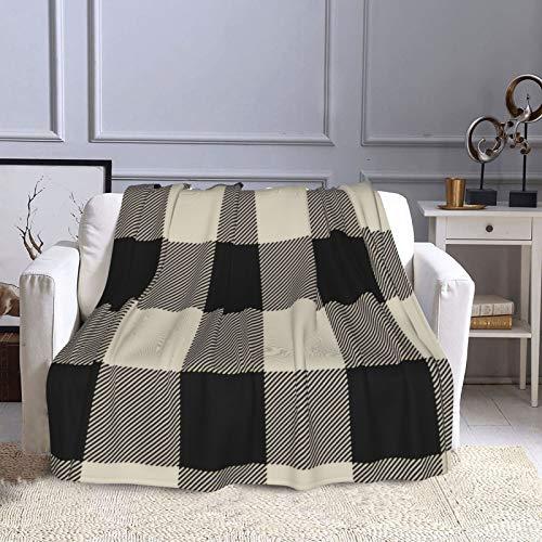 KCOUU Couverture polaire 127 x 152 cm rustique noir et beige à carreaux Buffalo Plaid douillet et chaud Couverture décorative pour canapé, lit, canapé, voyage, maison, bureau, toutes saisons