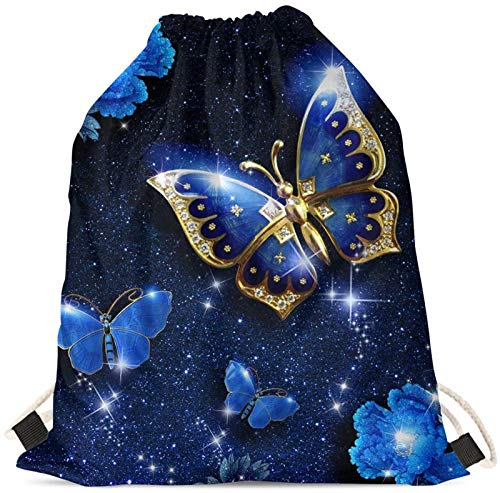 SEANATIVE Kids Shoulder Drawstring Bags Blue Butterfly Athletic Gymsack Lightweight String Backpack