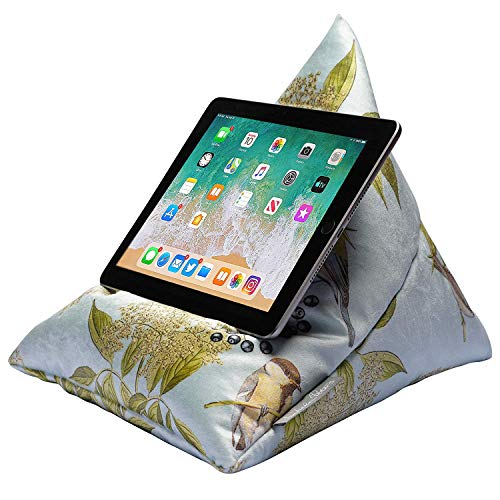 Izabela Peters Luxurious Bean Bag Cushion Tablet Stand for iPad, Kindle, Phone - Bird on Elderflower - Duck Egg - Shimmer Velvet - Range of Designs & Colours