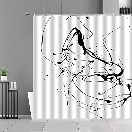 XCBN Cortina de Ducha con diseo de Teclas de Piano en Blanco y Negro, Arte Musical, decoracin del hogar, Instrumentos Musicales, Notas Musicales, Cortinas de bao A5 150x200cm