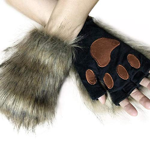 KYSA Winterwärmer – Pelzige warme Halbfinger-Handschuhe –...