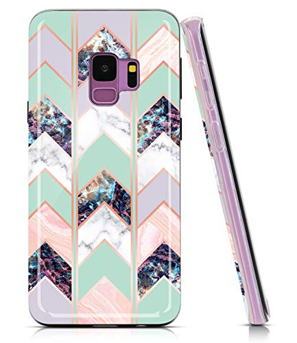 BAISRKE Marble Case for Galaxy S9, Shiny Rose Gold Lines Wave Geometric Design Case Slim Soft TPU Rubber Bumper Silicone Protective Phone Case Cover for Galaxy Galaxy S9 [Green]