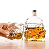 25 OZ Whiskey Set with 2 Glasses/ Unique Whiskey Bottle Design/ Chirstmas Gift Ideas/ Set of Glass Bottle with 5Oz Glasses/ Artistic Whiskey Glass Bottle