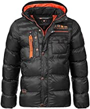 Geographical Norway Men's Quilted Winter Jacket Citernier Hood - Black, M