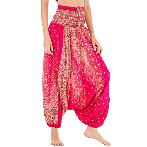 Nuofengkudu Mujer Thai Algodón Harem Pantalones Jumpsuit Hippie Boho Estampados Baggy Monos Pantalón Cintura Alta Indios Tallas Grandes Yoga Pants Pijama Verano Playa(Rose Pavo,Talla única)