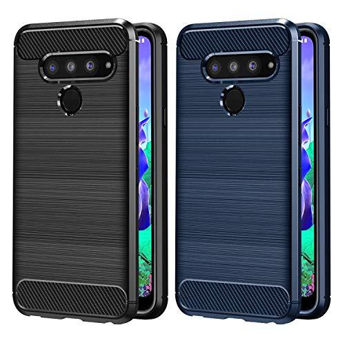 VGUARD [2 Unidades] Funda para LG Q60 / LG K50, Diseño de Fibra de Carbon Ultra Fina TPU Silicona Carcasa Fundas Protectora con Shock- Absorción para LG Q60 / LG K50 (Negro+Azul)