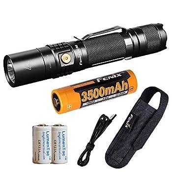 Fenix UC35 V2.0 1000 Lumen Rechargeable Tactical Flashlight 3500mAh Battery and 2X Lumen Tactical CR123A Backup Batteries