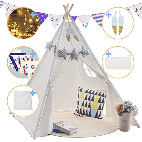 Teepee Play Tent for Kids with Gifts Floor Mat, Star Lights, Coloured Flag,...