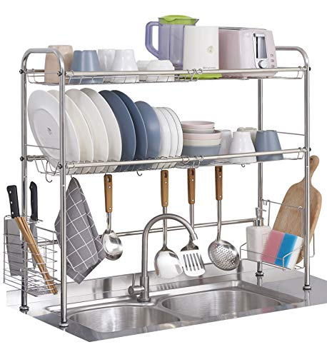 OVICAR Over The Sink Dish Drying Rack,2-Tier Large Stainless Steel Sink Dish Drainer with Utensil Holder Hooks, Dish Rack with Counter Non-Slip Stable Foot for Kitchen Storage Shelf (Silver)