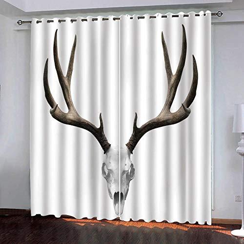 SUZIHUA Verdunkelungsvorhänge 3D Schafskopfdekoration Massiver Vorhang Isolierung Fensterdekoration Öse...