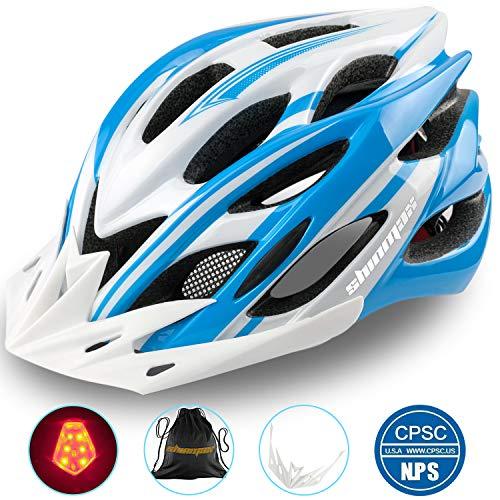 Shinmax Fahrradhelm mit Sicherheitslicht, Verstellbare Sport Bike Fahrradhelme für Motorrad für Erwachsene Männer und Frauen Jugend Racing Sicherheit Schutz mit CE Zertifikat(Blau Weiß-Großes Licht)